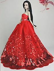 Barbie Doll Deluxe Floor-length Red Sequin Wedding Dress