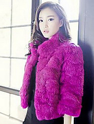 Fur Coat 3/4 Sleeve Standing Rex Rabbit Fur&Raccoon Fur Special Occasion/Casual Fur Coat(More Colors)