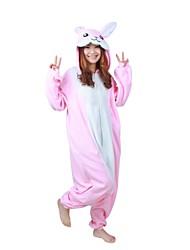 Kigurumi Pyjamas Kanin Trikot/Heldragtskostumer Festival/Højtider Nattøj Med Dyr Halloween Lyserød Patchwork Polarfleece Kigurumi For