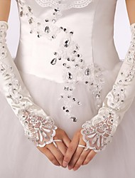 Elastic Satin Fingerless Bridal Gloves with Applique with Rhinestones