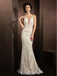 Mermaid / Trumpet Plunging Neckline Sweep / Brush Train Lace Wedding Dress with Appliques by LAN TING BRIDE®