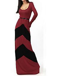 Lavender Women's Fashion Contrast Color Stripe Long Dress