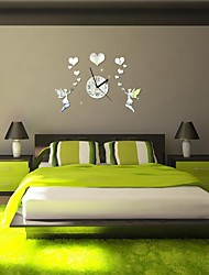 """18""""H Modern Style Love Fairy 3D DIY Acrylic Mirror Wall Clock"""
