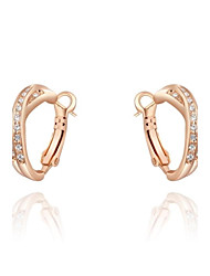 Women's Roxi Fashion Austrian Crystal Rose-Gold Plated Cross Earrings Champagne Zircon Alloy Clip Earring(1 Pair)
