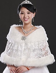 Fur Wraps Faux Fur and Lace Wedding/Special Occasion Shawl