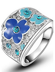 Women's Roxi Exquisite Platinum Plated Blue Plum Blossom Statement Rings(1 Pc)