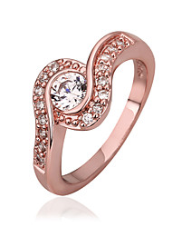 Women's Rose Gold Plated/Brass Ring With Cubic Zirconia