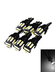 T10 5W 300LM 6500K 10 x SMD 7020 LED Cool White Car Clearance Lamp / Side Light (12V / 6PCS)