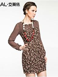 abito estivo elegante sottile stampa floreale rappezzatura vestito di un pezzo chiffon di eral®women