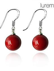 Earring Drop Earrings Jewelry Women Daily Pearl / Sterling Silver Red