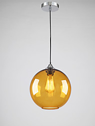 Modern Glass Pendant Light in Round amber Bubble Design