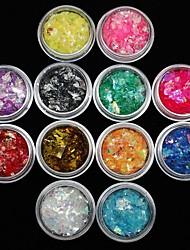 12pcs Farben Shell Papieraufkleber Nagelkunstdekoration