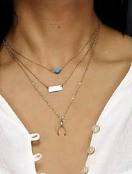 Damenmode türkis Querlenker Bars dreischichtige Halskette