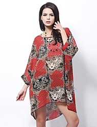 Women's Print Red Blouse , Round Neck Short Sleeve