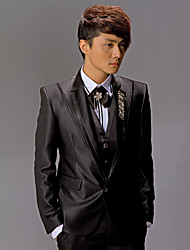 Black Polyester Slim Fit Two-Piece Tuxedo