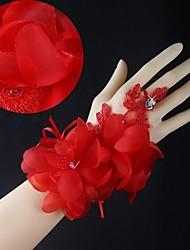 Red Lace Wrist Length Fingerless Wedding Gloves with Handmade Flowers with Rhinestone  ASG40