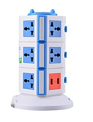 Overload Protector 5V/2.1A 3 Floor with 11 Universal Outlets and 2 USB UK Adapter Power Strips