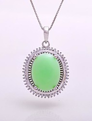 AS 925 Silver Jewelry  Green jade exquisite 12MM*15MM Oval Pendant