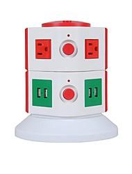protetor de sobrecarga 5v / 2.1a 2 andar com 6 pontos de eua e 4 réguas de energia USB