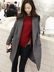Women's Blue/Gray Trench Coat , Casual Long Sleeve Wool Blends