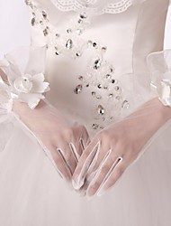 Ivory Tulle Fingertips Bridal Gloves with Floral Rosette with Ruffles