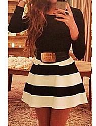GGN Women's Fashion Long Sleeve Stripe Dress