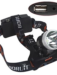 Cycling 1200 Lumens 1x Cree XM-L2 LED Adjustable  Headlamp with Power Bank(2x18650 Black&Silver)
