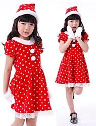 little girl bolinhas vestir traje crianças natal