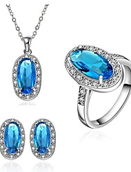 Women's Classical Blue Zircon Jewellery Set (Set of 3)