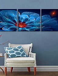 E-HOME® Stretched LED Canvas Print Art Blue Flowers Flash effect LED Set of 3