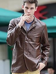 Men's Autumn Fashion Leather Windbreaker Korean Slim Long Paragraph Jackets