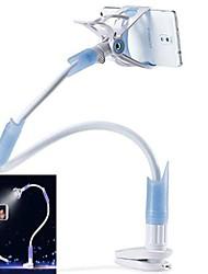 Desktop Seat Bed Bolt Clamp Mount Bracket with LED Light Lamp Multifunctional Mobilephone Stand Holder-Blue