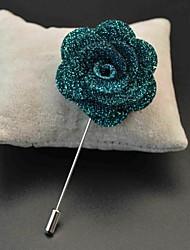 polyester main turquoise fleurs de revers boutonnière pour hommes