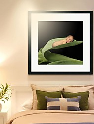 Framed Art Print, People Michelle Baby Sleeping in Leaf by Tanya Hovey