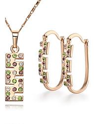 Z&X® European Style 18K Gold Plated Rhinestone Pendant Necklace Earrings Jewelry Set (1 set)