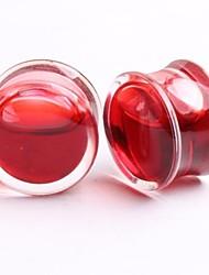 2014 nouvelle acrylique rouge style liquide non-vis des bouchons d'oreille chair tunnel jauge percer un ensemble de deux 16mm