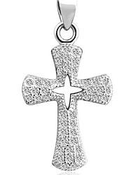 925 Men's Silver Cross Pendant With Cubic Zirconia