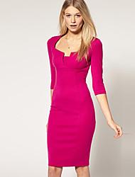 Women's Solid Blue/Red Dress , Work Asymmetrical ½ Length Sleeve