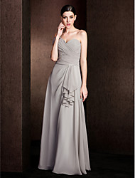 Lanting Bride® Floor-length Chiffon Bridesmaid Dress - A-line One Shoulder Plus Size / Petite with Criss Cross