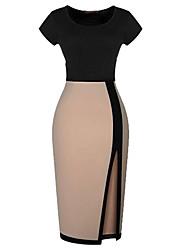 rodada pacote pescoço hip aberto garfo cores sortidas lápis sexy bodycon vestido midi das mulheres Mingfan