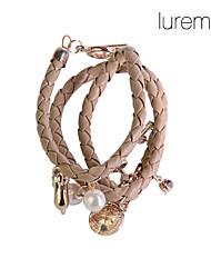 женская PU сплетенный браслет сплава
