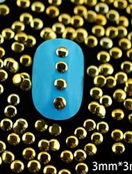 100pcs dourado rodada de metal rebite arte decoração de unhas 3 milímetros