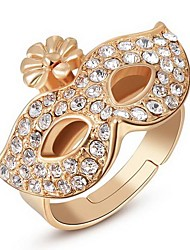 Women's Classic Rose Gold Diamanted Mask Alloy Statement Rings(1 Pc)