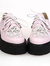 Rosa PU plataforma de 5 cm de cuero zapatos dulce lolita