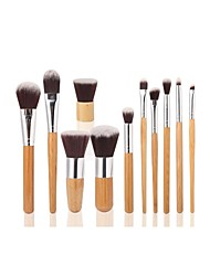 11pc Bamboo Handle and Nylon Hair Cosmetic Brush Brushes with Tool Bag