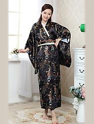 Charming Japanese Girl Wintersweet Satin Women's Ethnic Costume