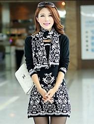 Women's Korean Lace Pattern Jacquard Vintage Fit Bottoming Knitwear Dress
