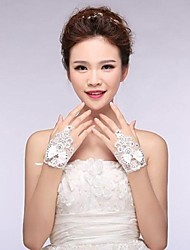 Ivory Lace Fingerless Wrist Length Wedding Gloves with Bow with Shiny Crystal ASG10