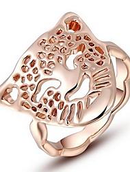 austria cristal europeu das mulheres subiu de instrução anéis de liga cabeça de leão de ouro (1 pc)
