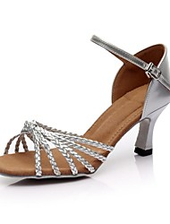 Customizable Women's Dance Shoes Latin Leatherette Customized Heel Silver/Gold